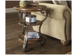 Wood, Metal & Glass Chairside End Table