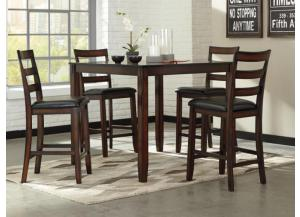 DR98 Rustic Brown Pub Table & 4 Stools