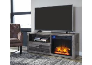 HE62 Vintage Gray TV Stand w/ LED Fireplace Insert