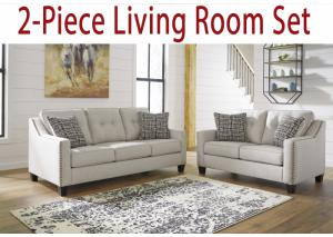 2-Piece Living Room Collection: Marra Fog Sofa & Loveseat