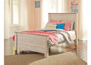 MB107 2-Tone White Wash Full Panel Bed