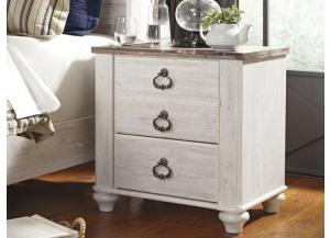 MB107 2-Tone Whitewash Nightstand