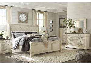 MB172 White & Dark Queen Panel Bed, Dresser, Mirror & Nightstand