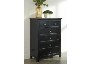 MB173 Brown & Black 6-Drawer Chest