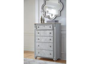 MB184 Champagne & Silver 5-Drawer Chest
