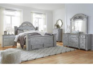 MB184 Champagne & Silver Queen Storage Bed, Dresser, Mirror & Nightstand