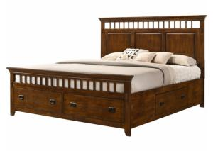 MB35 Mission Oak Queen Storage Bed