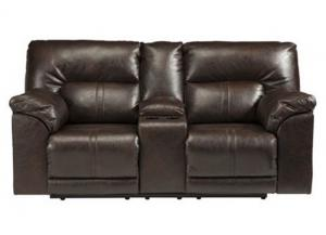 Chocolate Leatherblend Double Reclining Loveseat with Console