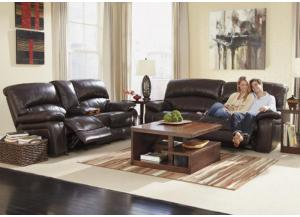 LR22 Dark Brown Top Grain Power Reclining Sofa