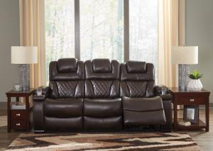Warner Chocolate Power Reclining Sofa w/ Adjustable Headrest