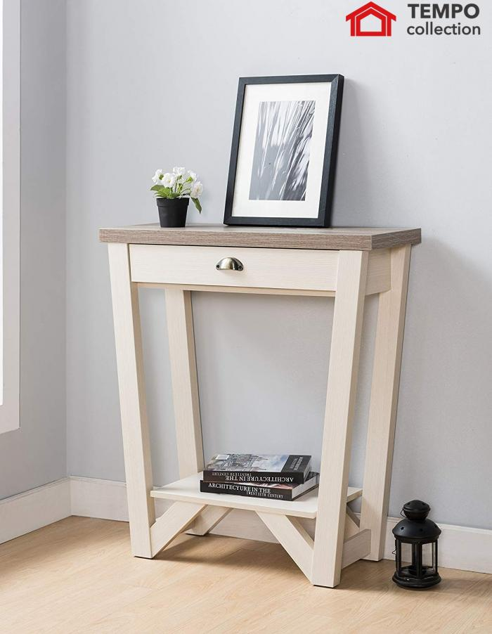 Console Table, Dark Taupe & Ivory,Tempo Collection