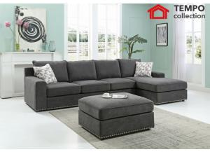 Armora Sectional Sofa with Ottoman, Smoke