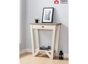 Console Table, Dark Taupe & Ivory