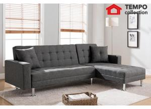 Tufted Gray Linen Fabric Sectional Sofa Bed, Grey