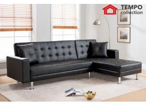 Tufted Black Faux Leather Sectional Sofa Bed, Black