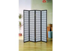 Image for 4 Panel Room Divider, Black