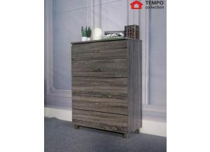 5 Drawer Chest, Distressed Grey
