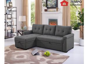 Sectional with Pull-out Bed and Storage, Grey