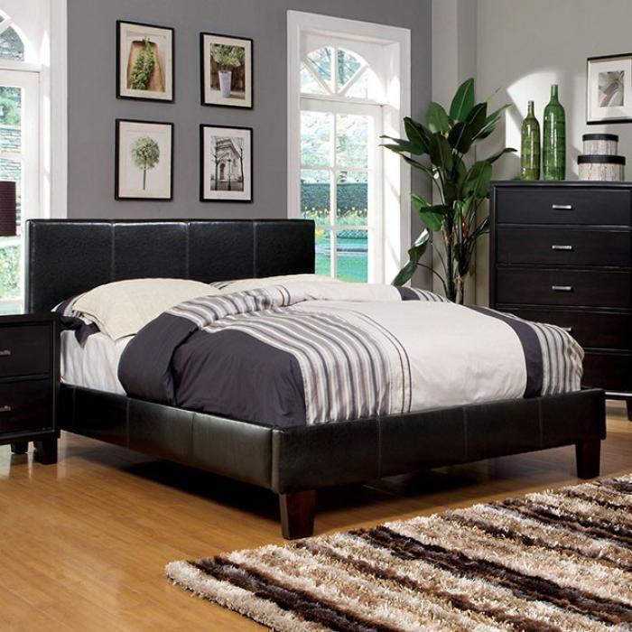 Queen Platform Bed and Mattress Combo Espresso Leatherette,Bed Post Furniture