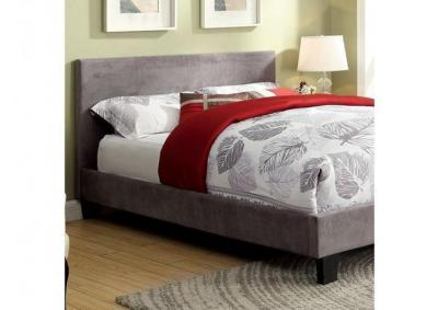 Queen Platform bed and Mattress Combo Gray Fabric ,Bed Post Furniture