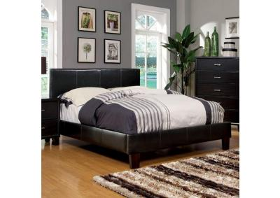 Queen Platform Bed and Mattress Combo Espresso Leatherette