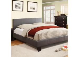 Queen Platform Bed and Mattress Combo Gray Leatherette,Bed Post Furniture
