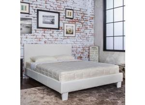Queen Platform Bed and Mattress Combo White Leatherette,Bed Post Furniture
