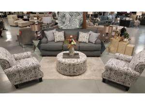 Nail head 4pc Sofa, 2 accent chairs, and ottoman