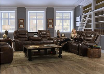 Image for Top Grain Leather Power/Headrest Reclining Sofa and Loveseat