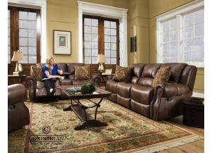 BROWN TRADITIONAL RECLINING SOFA AND LOVESEAT