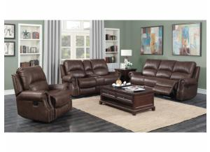 BROWN TOP GRAIN LEATHER, POWER SOFA AND LOVE RECLINING SET