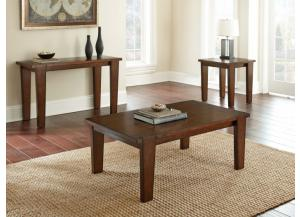 VINCE BROWN COFFEE TABLE AND TWO END TABLES
