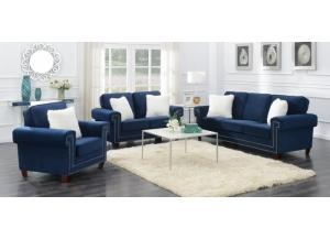 ASCOT NAVY SOFA, LOVE AND CHAIR 3PC SET