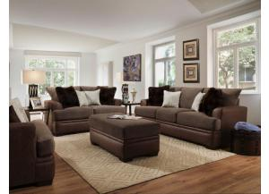 TWO TONE BROWN LOVESEAT