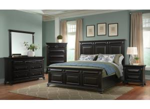 CALLOWAY ALMOST BLACK QUEEN BED, DRESSER, MIRROR, AND NIGHTSTAND