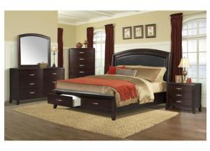 DELANEY QUEEN STORAGE BED, DRESSER, MIRROR AND NIGHTSTAND