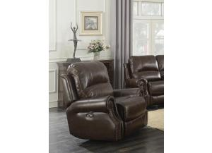 BROWN TOP GRAIN LEATHER, POWER RECLINER