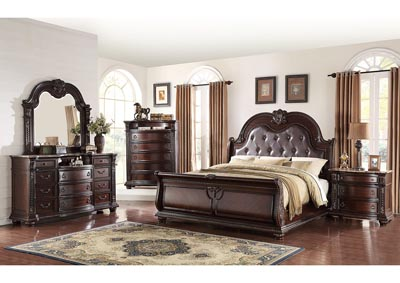 Stanley Upholstered King Sleigh Bed w/Dresser, Mirror and Nightstand