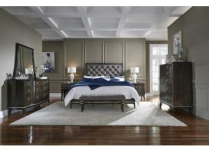 ESSEX KING BED, DRESSER, MIRROR, AND NIGHTSTAND