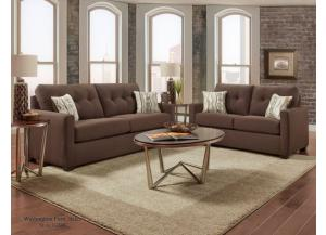 MITCHELL CHOCOLATE SOFA AND LOVESEAT
