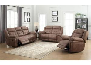 Brown Reclining Sofa and Loveseat