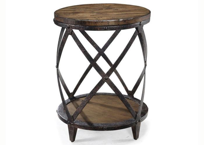 Pinebrook Round Accent End Table,Old Brick