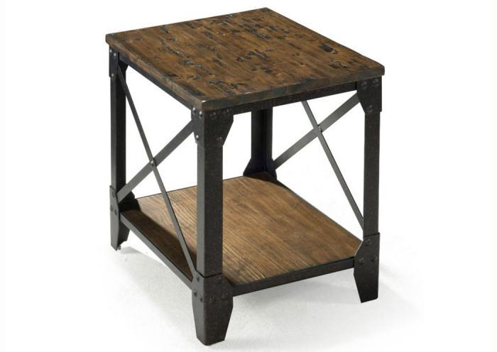 Pinebrook Small Rectangular End Table w/Rustic Iron Legs,Old Brick