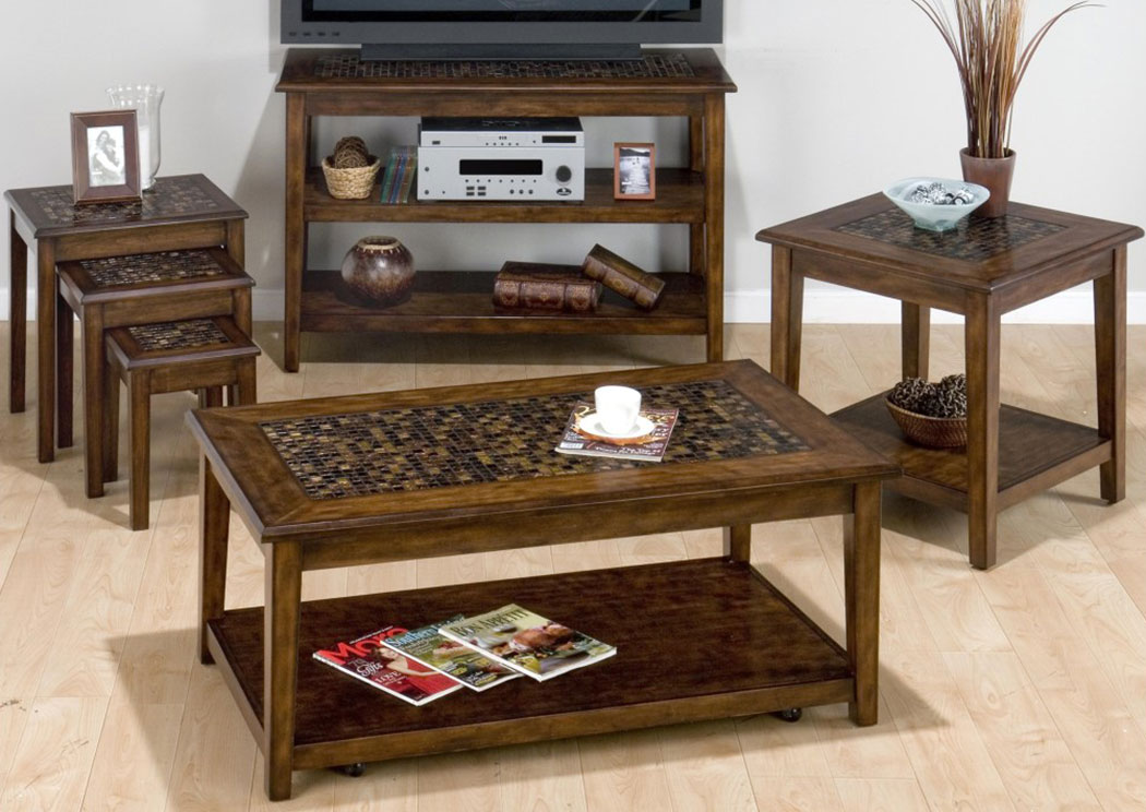 Baroque Brown 3-Piece Nesting Chairside Table w/Mosaic Tile Inlay,Old Brick