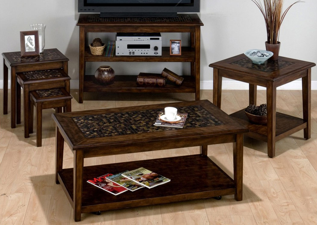 Baroque Brown Mosaic Inlay 2-Shelf Sofa Table,Old Brick