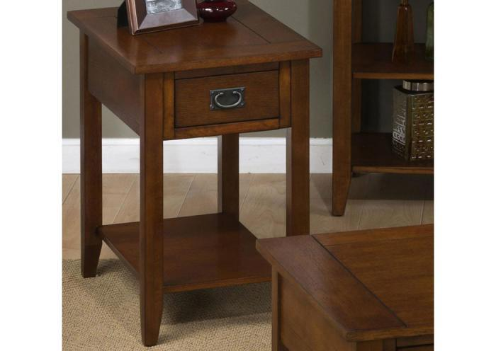 Mission Oak Chairside Table w/1 Drawer and 1 Shelf,Old Brick