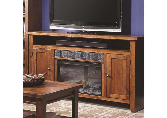 Alder Grove 2 Door Entertainment Console w/Fireplace,Old Brick