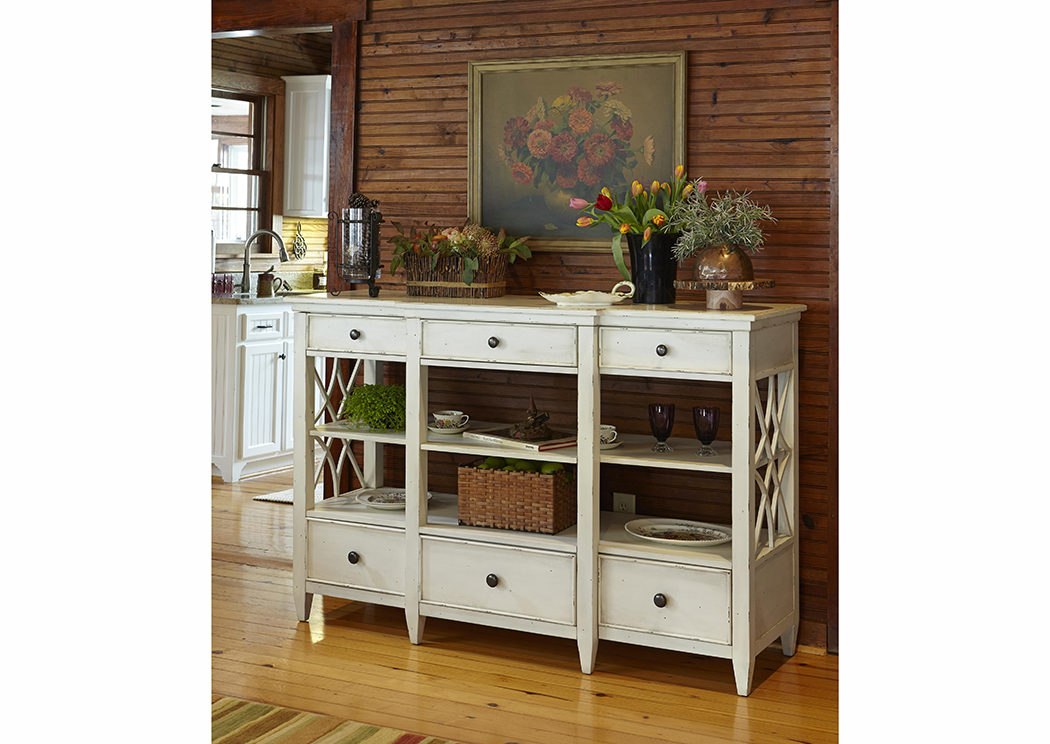 Trisha Yearwood Home Bakersfield Sideboard w/Lattice Pattern On Sides,Old Brick