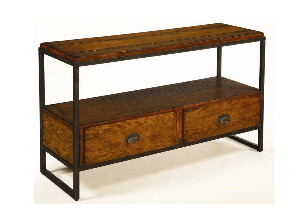 Baja Entertainment Console w/Distressed Woodwork and Metal Frame,Old Brick