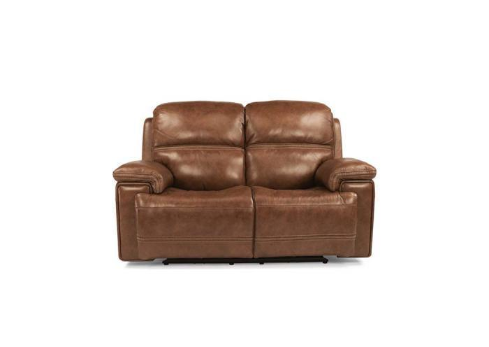 Fenwick Leather Power Reclining Loveseat w/Power Headrest by Flexsteel,Old Brick